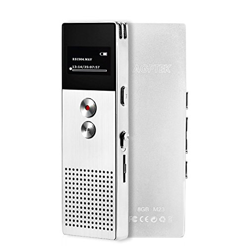 IC レコーダー AGPtEK 高音質 ボイスレコーダー 録音機 小型 金属製 音楽/FMラジオ機能 内蔵スピーカー搭載 8GB マイクロSDカード64GBに対応 M23 保証1年 シルバー
