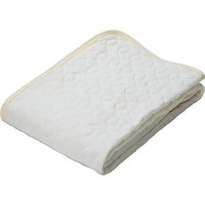 敷きパッド 接触涼感 吸湿性 レーヨン素材 洗える ゴムバンド付き 心地よいサラふわ触感 幅100×奥行205cm シングル アイボリー