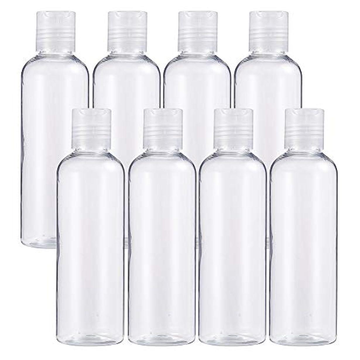 化粧ボトル歌うBENECREAT 8個プラスチックプレスキャップ 小分けボトル プラスチック容器 液体用空ボトル 押し式詰替用ボトル 詰め替え シャンプー クリーム 化粧品 収納瓶 (プレスキャンプボトル, 200mlプレスキャンプボトル)