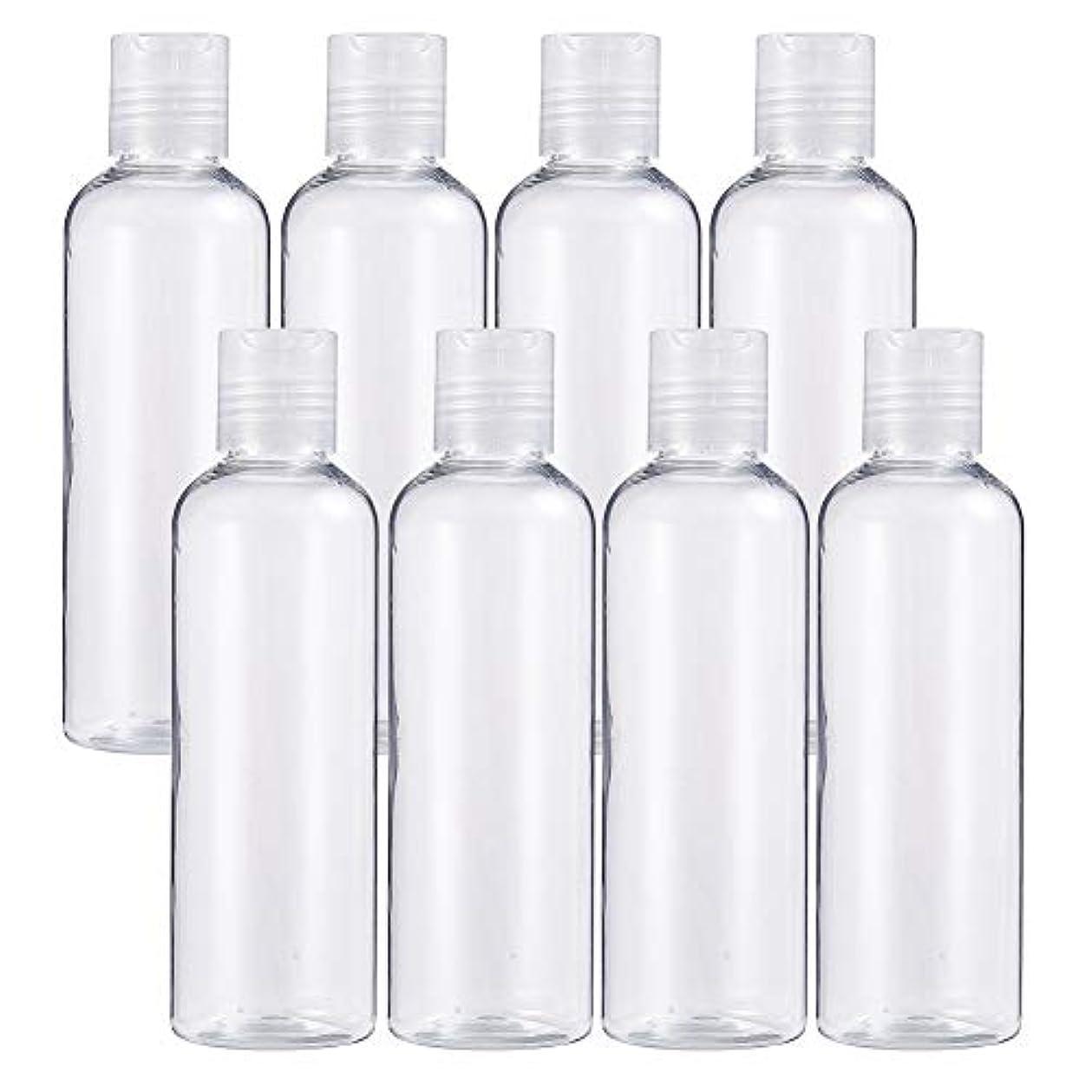 デザイナー直径周術期BENECREAT 8個プラスチックプレスキャップ 小分けボトル プラスチック容器 液体用空ボトル 押し式詰替用ボトル 詰め替え シャンプー クリーム 化粧品 収納瓶 (プレスキャンプボトル, 200mlプレスキャンプボトル)