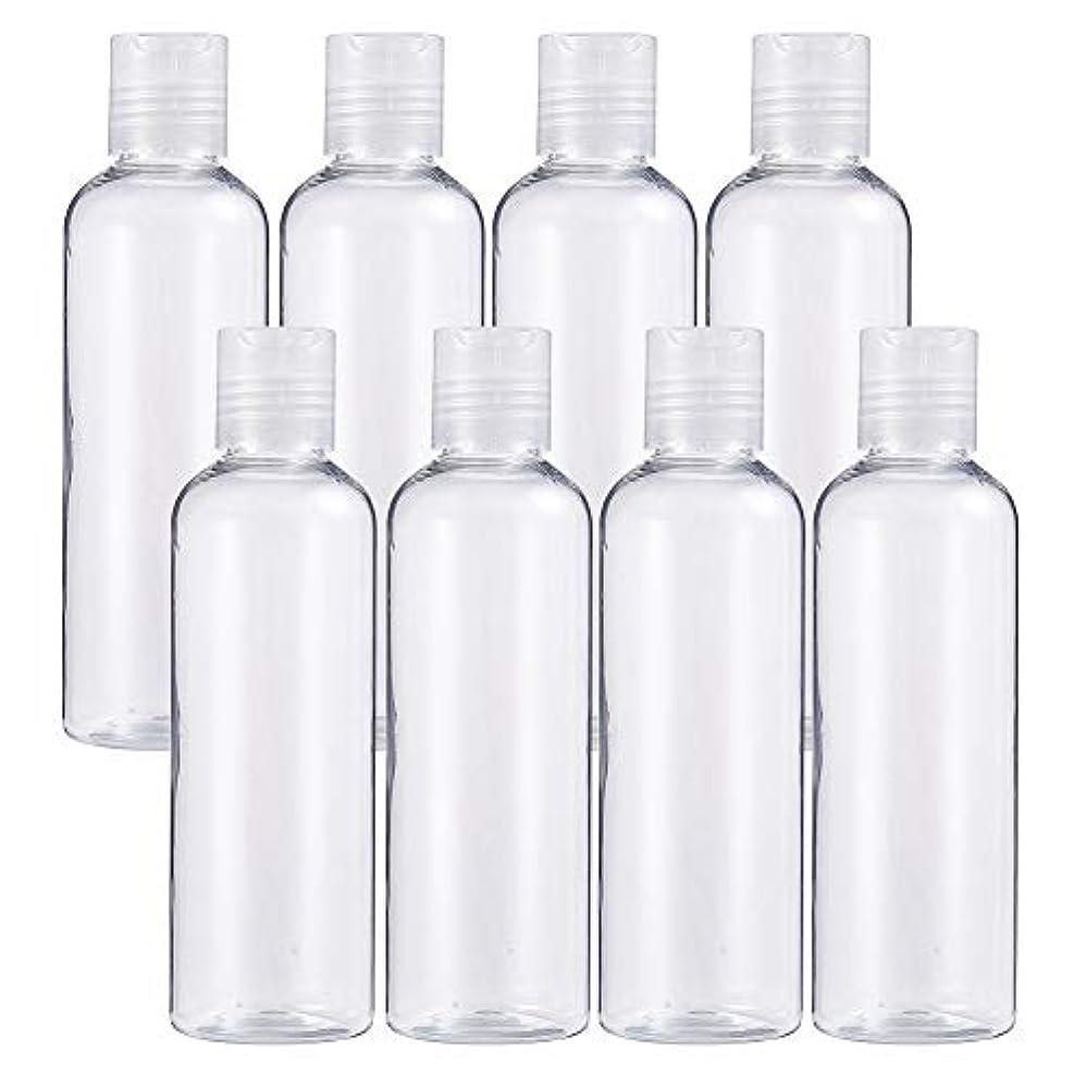 BENECREAT 8個プラスチックプレスキャップ 小分けボトル プラスチック容器 液体用空ボトル 押し式詰替用ボトル 詰め替え シャンプー クリーム 化粧品 収納瓶 (プレスキャンプボトル, 200mlプレスキャンプボトル)