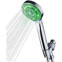 KAIREY 3色 3段階 LED 手持ち式シャワーヘッド 3つの鮮やかなLEDカラーが各秒毎に自動で変化 光沢のあるクローム ホースと調節可能なブラケット付き