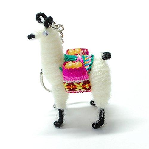 【ペルー民芸品のキーホルダー】アルパカ・リャマをモデルにしたキーホルダー 白 ホワイト系