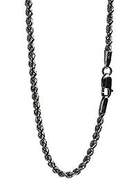 新宿銀の蔵 いぶし カットフレンチロープチェーン 長さ40~70cm (70cm) 幅3.0mm 濃いめ シルバー 925 ロング ネックレス チェーン メンズ