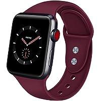 AIGENIU コンパチブル Apple Watch バンド、ダブルボタンシリコン柔らかいアップルウォッチ スポーツ 交換 バンド、S/M M/Lを選択できますApple Watch Series 4/3/2/1に対応 (42mm/44mm S/M, ワインレッド)