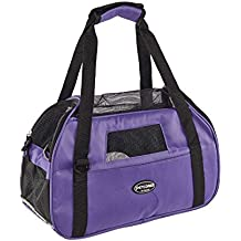 Zoic Pet Carrier Dog Cat Comfort Foldable Travel Tote Bag for Small Rabbit Dog Cats Pink Purple Black Blue(48 * 25.5 * 33CM) (Purple)