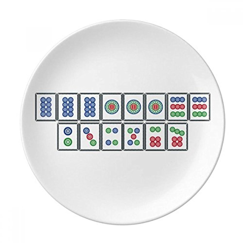 フラッシュスーツ麻雀牌装飾磁器デザートプレート8インチディナーホームギフト