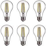 FLSNT A60/A19 LED Edison Light Bulbs 60W Equivalent,E27 Base,2700K Soft White,7W,800LM,Non-Dimmable,6 Pack