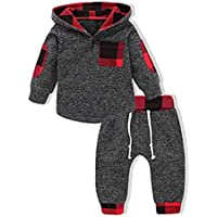 FUFUCAILLM 0-3T Infant Toddler Baby Boy Girl Plaid Hooded Sweatershirt Pants Christmas Outfit Winter Fall Clothes Set