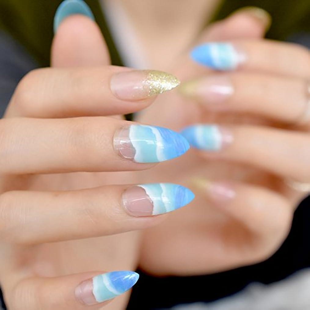 結晶細心の彼女XUTXZKA 24個のスティレットシェイプ偽爪ブルースカイラブビーチグリッターポインテッドレディースプレスネイルのヒント