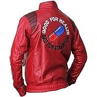 Mens Red Classic Capsule Akira Kaneda Fashion Logo Real and Faux Leather Jacket