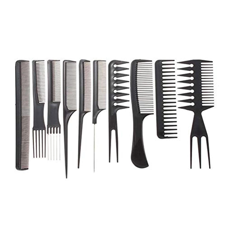 プラットフォームつまらない顕現黒い髪のすべてのタイプのために設計された10看護プロのヘアスタイリストブラシコームヘアスタイリングツール