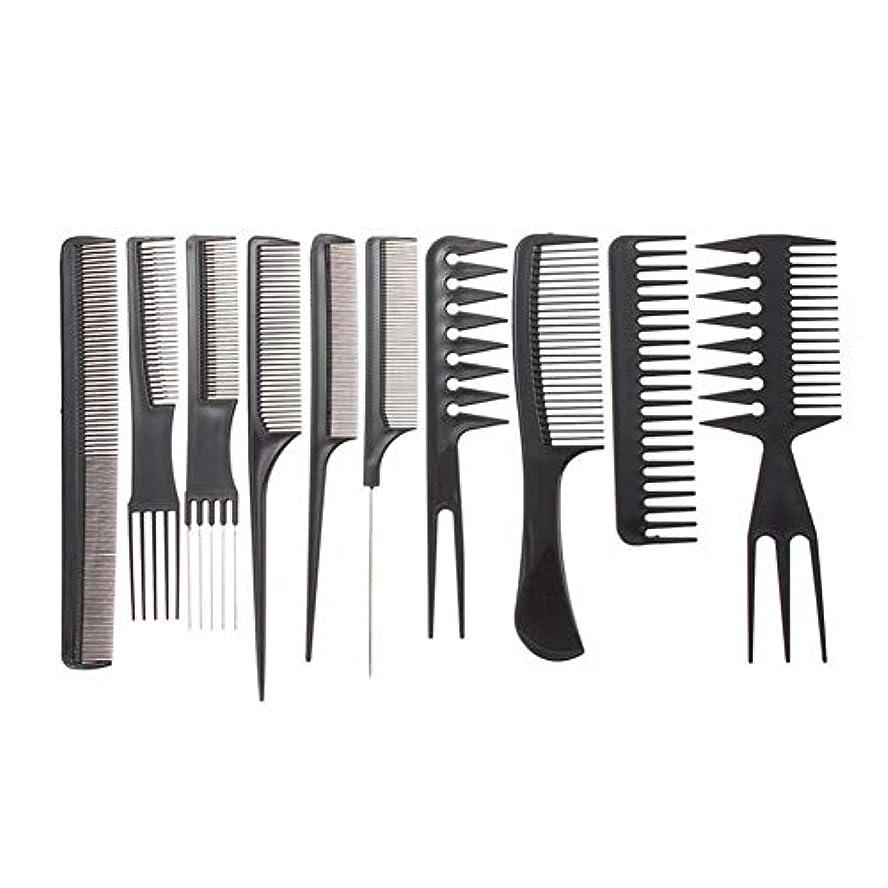 パッド蒸し器抑止する黒い髪のすべてのタイプのために設計された10看護プロのヘアスタイリストブラシコームヘアスタイリングツール