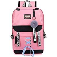 School Backpack Canvas USB School Bags for Girls Teenagers Backpack Women Bookbags Black Large Capacity Middle High College Teen Schoolbag (Color : Pink, Size : -)