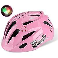 Shinmax子供ヘルメット,ledライト付き s m l xlサイズ調整可能 幼児 キッズ 小学生 こども用 超軽量 自転車 スケートボードキックボード、インラインスケート、BMX、MTBなど適用 かわいいスポーツヘルメット