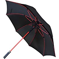 COLLAR AND CUFFS LONDON - 60MPH Windproof Extra Strong - StormFighter Jumbo Umbrella - Striking Red Reinforced Fiberglass Frame - for 1 or 2 Persons - Auto Open - Non Slip Tyre Style Handle - Black