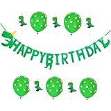 恐竜 誕生日パーティー装飾 緑の恐竜 ハッピーバースデーバナー ジュラシックガーランド 10ピース 恐竜テーマのバルーン 子供 男の子 ベビーシャワー用
