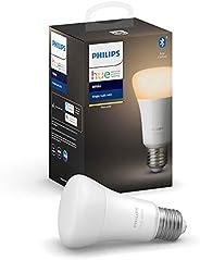 Philips Hue Philips E27 Hue White LED Smart Bulb, Bluetooth & Zigbee Compatible (Hue Hub Optional), Works