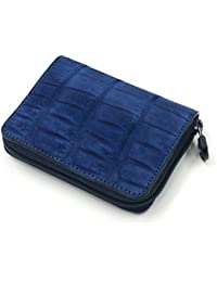 CRSU1144-BLUE クロコダイル 革 ファスナー小銭入れ ラウンドファスナー コイルファスナー コインケース ヌバック仕上げ 吟擦り ブルー