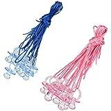 SONONIA 大きな おしゃぶり リボン付き ネックレス ベビーシャワー ゲーム 賞品 ブルー&ピンク 各色10個入り