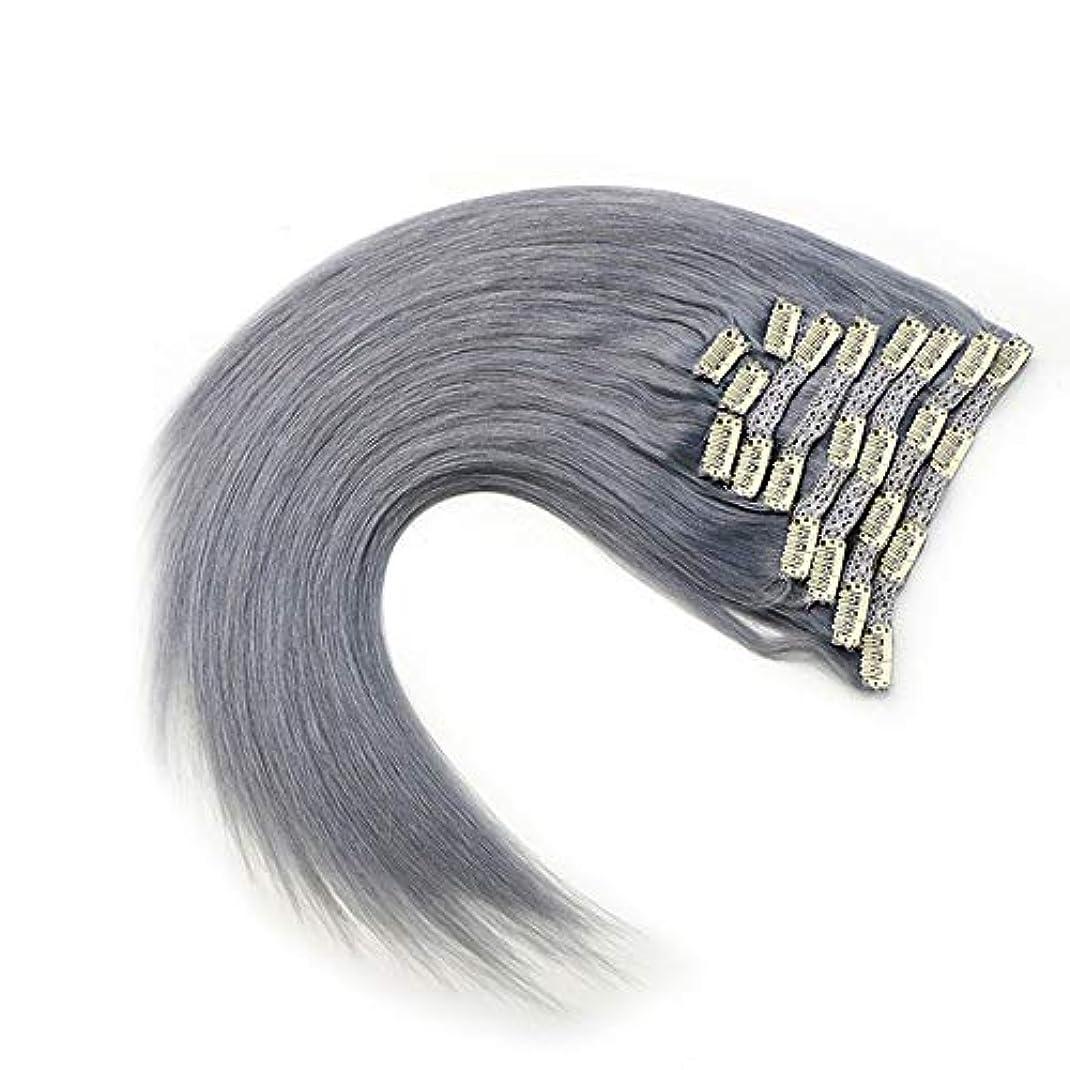 バストグローブチーターWASAIO グレー)、拡張完全な頭部HairHairクリップシームレスな髪型交換用の変更スタイルの作品で未精製レミー人間ヘアクリップ(17
