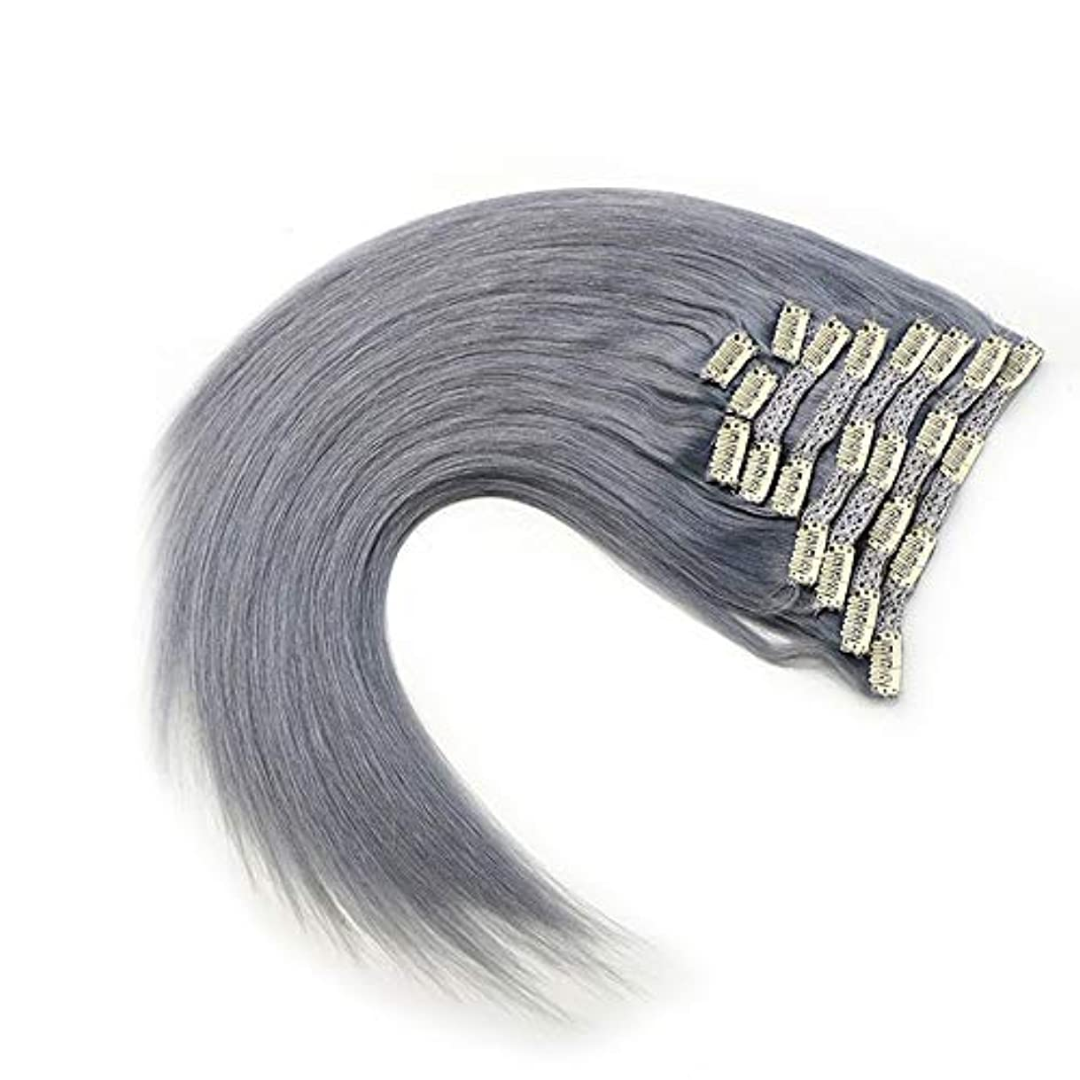 細胞引き出すピアニストWASAIO グレー)、拡張完全な頭部HairHairクリップシームレスな髪型交換用の変更スタイルの作品で未精製レミー人間ヘアクリップ(17