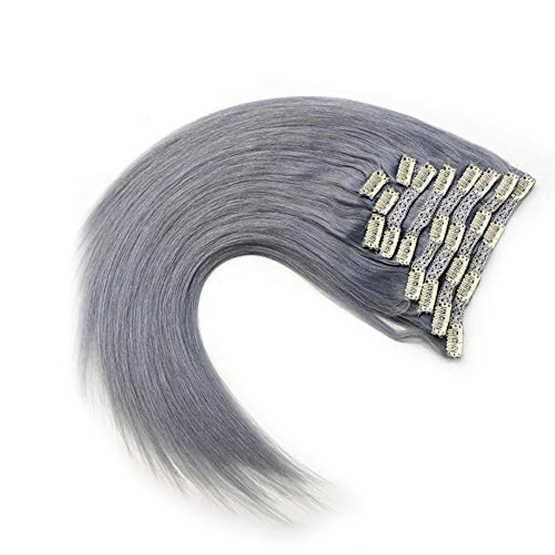 不合格思い出幻想的WASAIO グレー)、拡張完全な頭部HairHairクリップシームレスな髪型交換用の変更スタイルの作品で未精製レミー人間ヘアクリップ(17