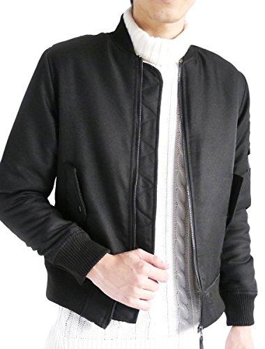 (モノマート) MONO-MART MA-1 ジャケット エムエーワン フルジップ ノーカラー ミリタリー 長袖 MODE メンズ ブラック Mサイズ