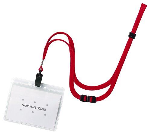 オープン 吊り下げ名札 ループクリップ式 ソフトヨコ(特大サイズ) 赤 N-21-RD