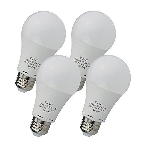 Drart LED電球 E26口金 一般電球100W形相当 広配光タイプ 密閉形器具 断熱材施工器具対応 非調光対応 (4個入り, 電球色3000K)
