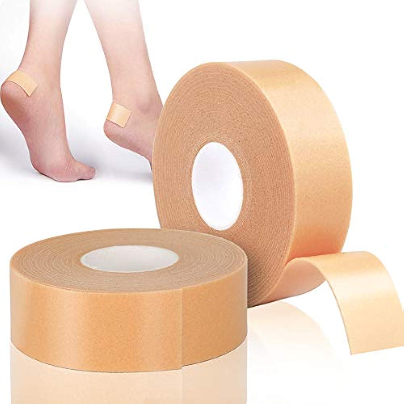 階十年膨張するLEOBRO 靴ずれ保護テープ 靴擦れ防止 かかと保護 衝撃吸収保護パッド 【2巻入り】 2.5cm*5m 肌色 防水素材 強粘着 足首保護パッド 耐摩耗 かかと痛み緩和