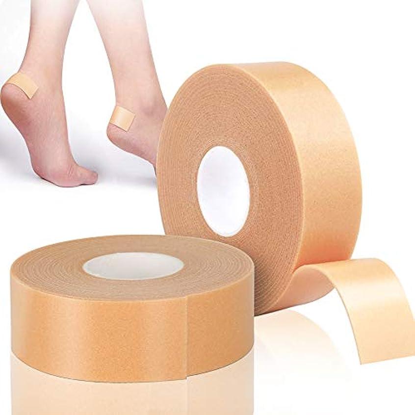 刺繍肌寒い落ちたLEOBRO 靴ずれ保護テープ 靴擦れ防止 かかと保護 衝撃吸収保護パッド 【2巻入り】 2.5cm*5m 肌色 防水素材 強粘着 足首保護パッド 耐摩耗 かかと痛み緩和