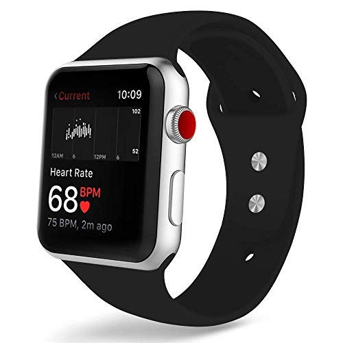 COVERY コンパチブル apple watch バンド,スポーツバンド シリコン製柔らかい アップルウォッチバンド コンパチブルiWatch交換ベルト 耐衝撃 防汗 apple watch series 4/3/2/1に対応 (42mm,44mm,ブラック)