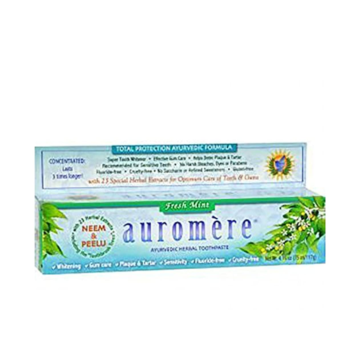 配列騒意味Auromere アーユルヴェーダのハーブの歯磨き粉フレッシュミントによって - 4.16オンス - ニームやビーガンと、ナチュラル、フッ化物無料