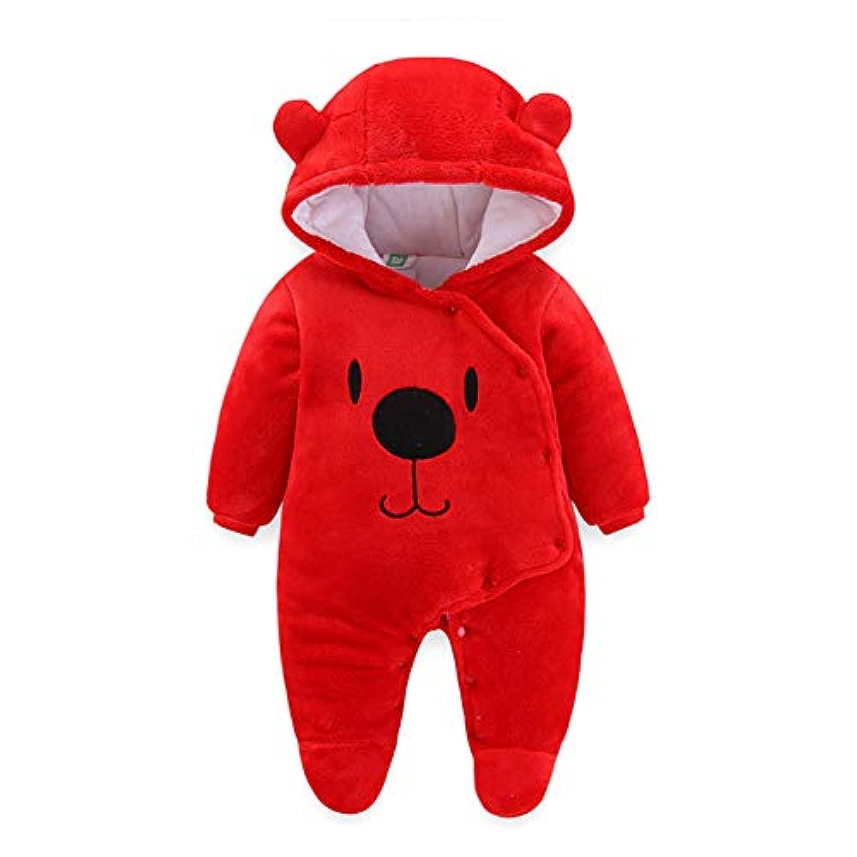 ALLAIBB ロンパース ベビー もこもこ 冬 新生児 カバーオール 足つき 厚さ 防寒 フード付き 生産祝い ギフト size 66 (赤)
