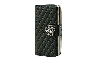iphone6 / 6 plus キルティング 手帳 型 ケース / カバー アイフォン 【Willcast】 2.iphone6plus ブラック ホームボタン付き
