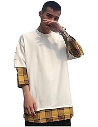 [モルクス] Tシャツ 半袖 さりげなく チェック柄 丸首 ファッション メンズ