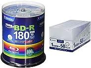 【セット買い】Verbatim バーベイタム 1回録画用 ブルーレイディスク BD-R 25GB 100枚 ホワイトプリンタブル 片面1層 1-6倍速 VBR130RP100SV4 & BD/DVD/CDケース