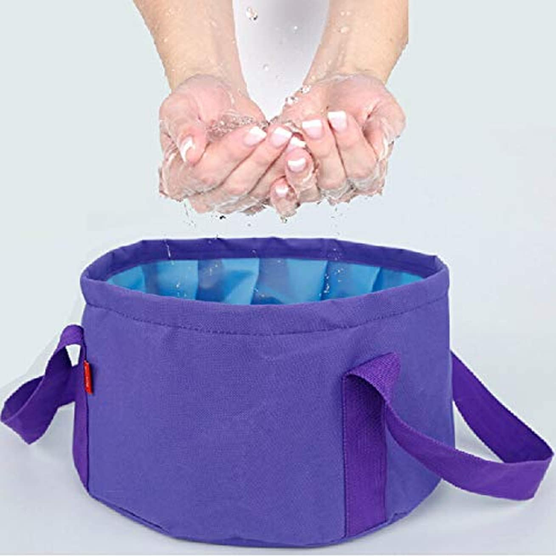 名前を作るラウンジ吸うビジネストラベルツーリズムアウトドア用品ポータブル折りたたみ洗面器10L (色 : 紫の)