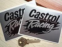 Castrol Racing Splash Black & Silver Oblong Stickers カストロール ステッカー シール デカール ブラック&シルバー 海外限定 115mm x 85mm 2枚セット