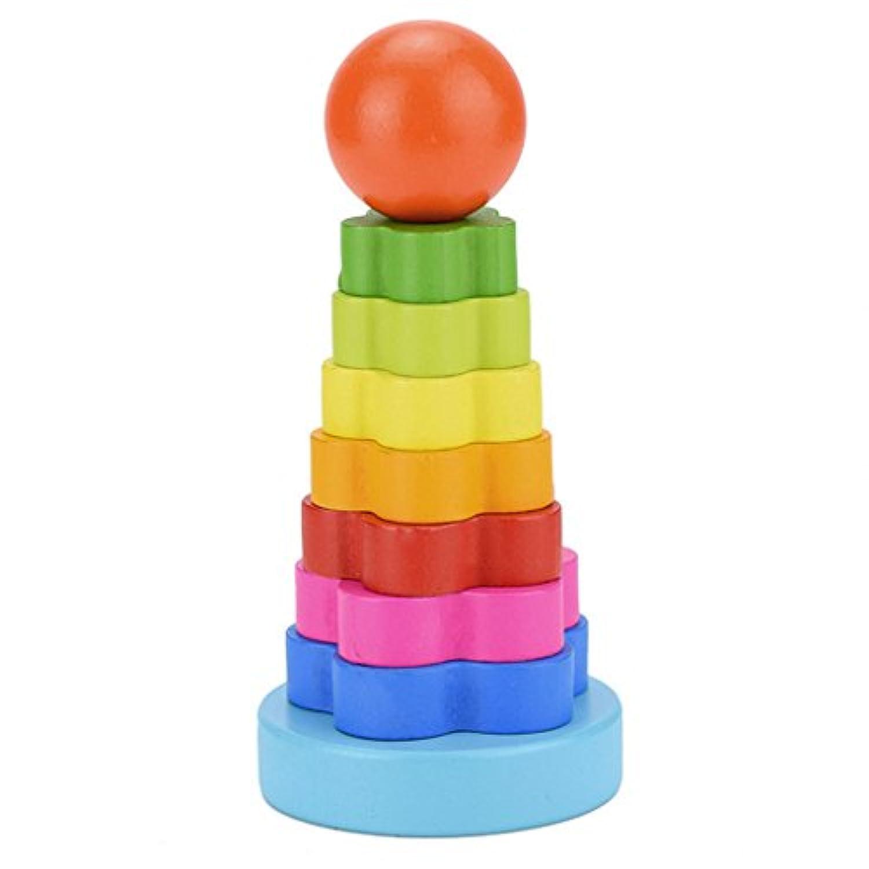 Yziss ベビーキッズビルディングブロック 教育用木製玩具 積み重ね ネスト学習 積み重ね レインボータワーリング