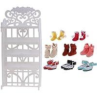 Dovewill  12インチブライス人形用 お洒落 靴(8ペア入り) 5層 シューズラック セット