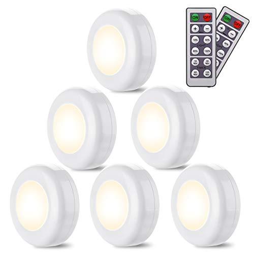 ledライト Elfeland 室内照明 キャビネットライト 電池式 ワイヤレス リモコン付き 丸型 ホワイト 4000K 玄関 階段 常夜灯 車庫 緊急時用 防災 6個入り
