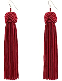 MELUOGE Manual Knotted Ball Tassel Long Earrings