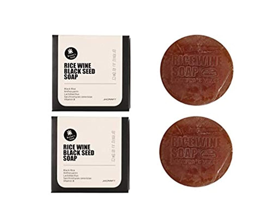 結論スキームりんごJKCRAFT RICEWINE BLACK SEED SOAP 黒米マッコリ酵母石鹸,無添加,無刺激,天然洗顔石鹸 2pcs [並行輸入品]