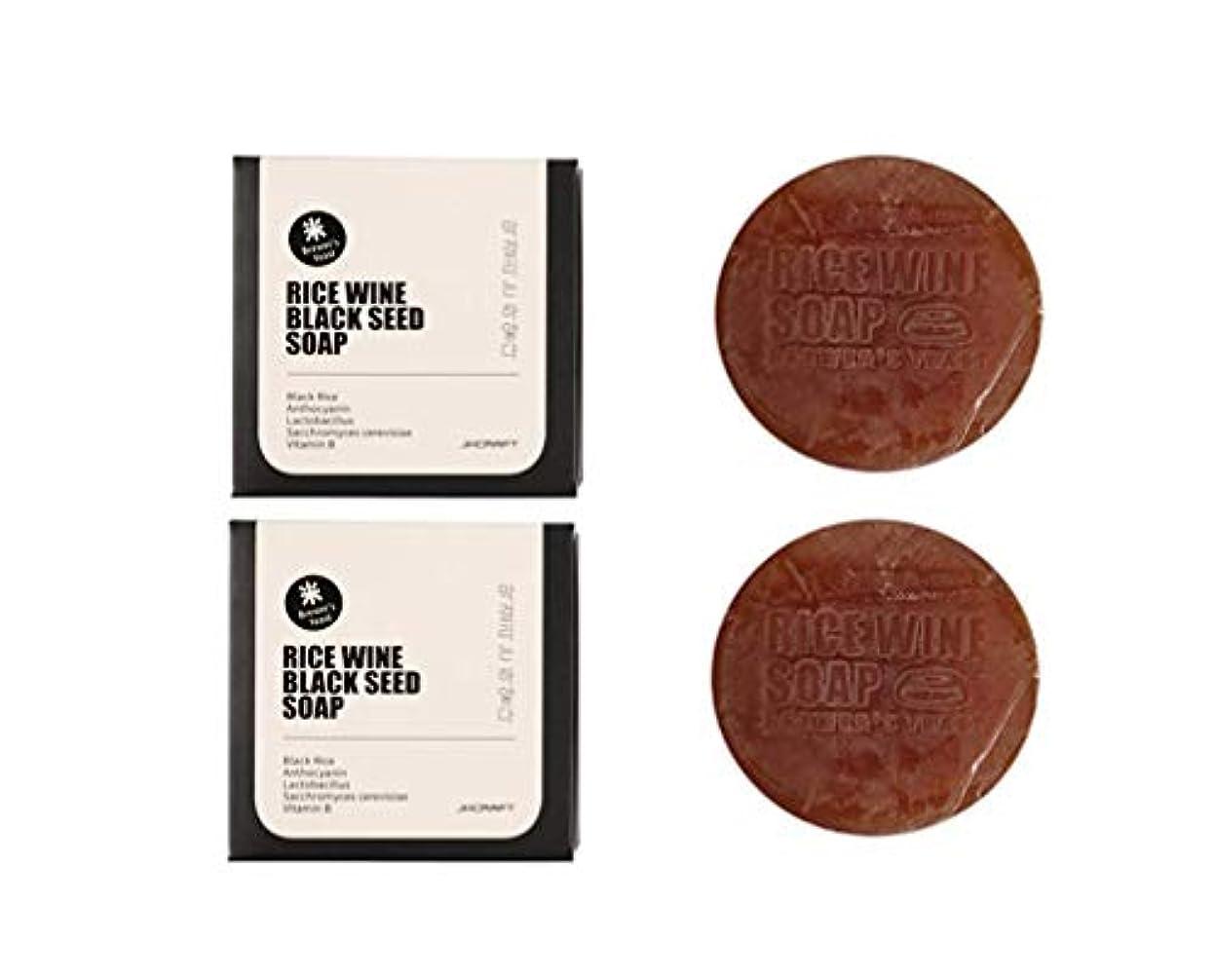 クリアより多い十二JKCRAFT RICEWINE BLACK SEED SOAP 黒米マッコリ酵母石鹸,無添加,無刺激,天然洗顔石鹸 2pcs [並行輸入品]