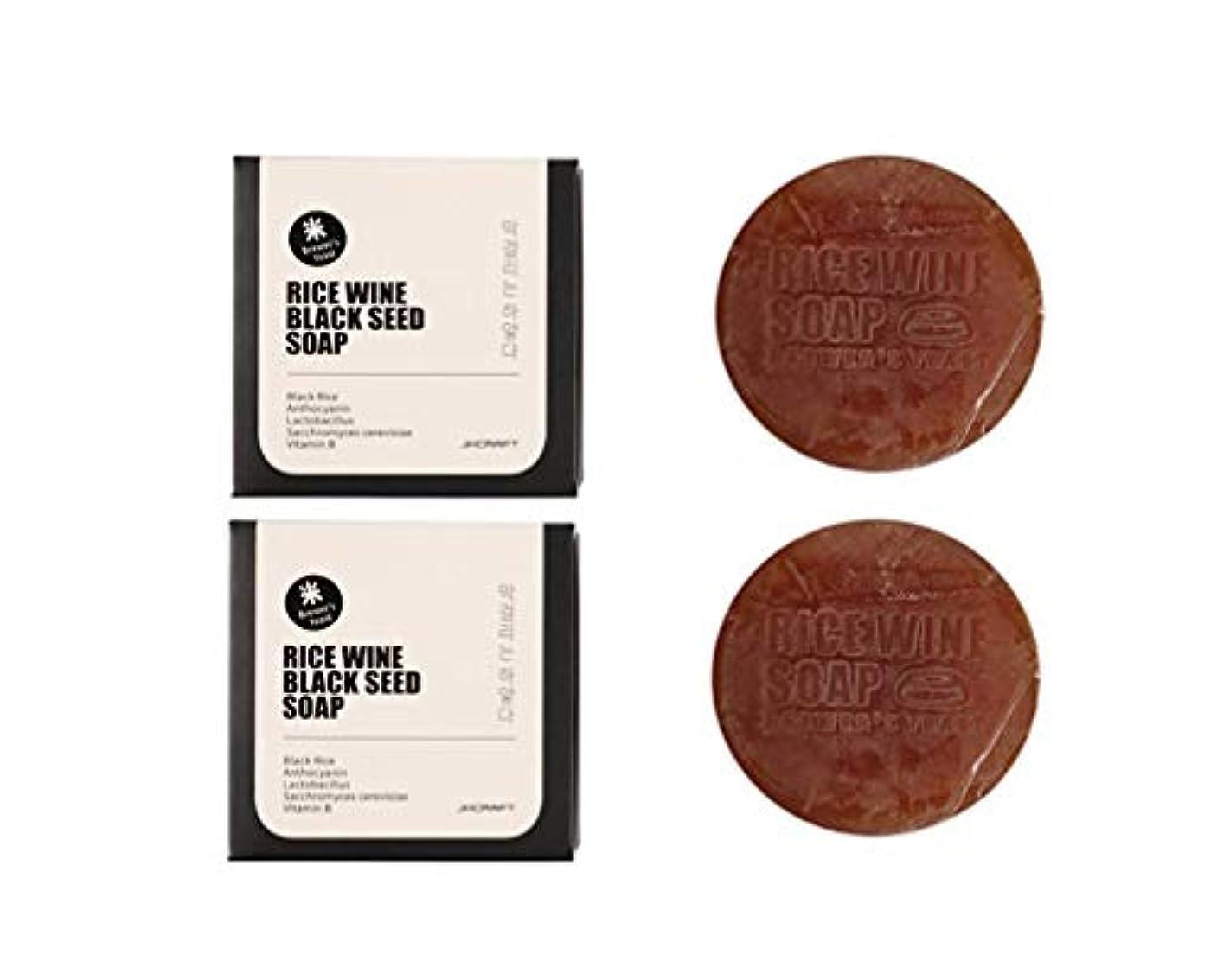 オゾン驚いた喜びJKCRAFT RICEWINE BLACK SEED SOAP 黒米マッコリ酵母石鹸,無添加,無刺激,天然洗顔石鹸 2pcs [並行輸入品]