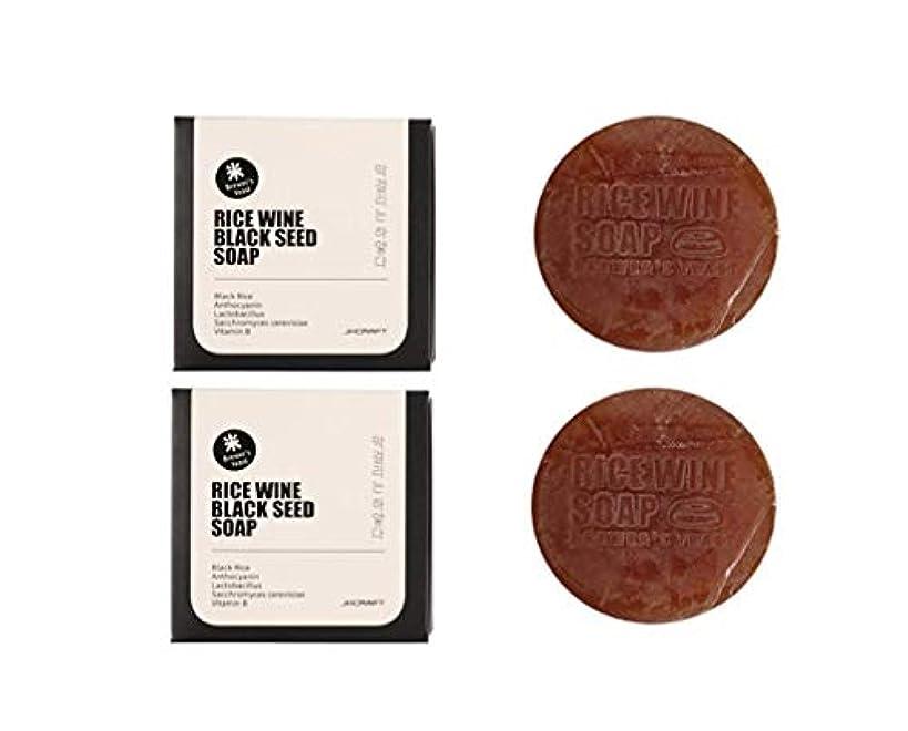 大聖堂粒子バックグラウンドJKCRAFT RICEWINE BLACK SEED SOAP 黒米マッコリ酵母石鹸,無添加,無刺激,天然洗顔石鹸 2pcs [並行輸入品]