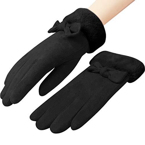 「4色」Caseeto 手袋 てぶくろ グローブ 女性用 レディース 通勤 通学 手袋 防寒 暖かい ファー付きリボン手袋 プレゼント 冬 秋 かわいい おしゃれ 手袋 滑り止め付き タッチパネル対応 (黒い)