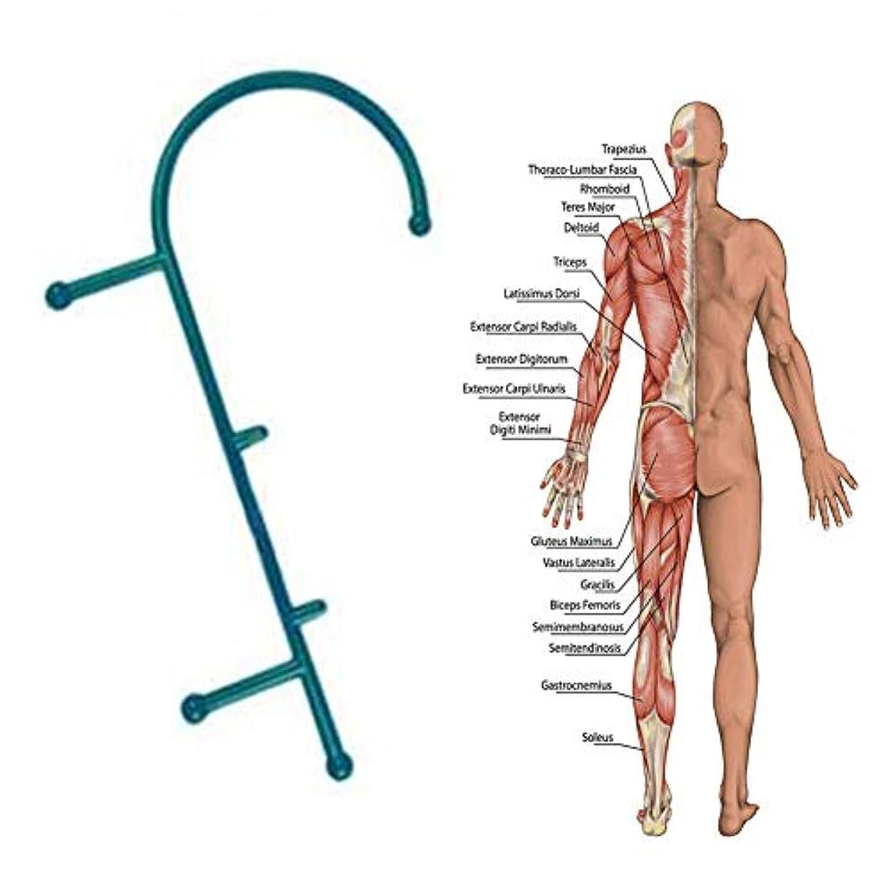 前者給料スリルトリガーポイントリリーフマッサージポイントセラピーマッサージツール背中の首の痛みのためのC字型ディープマッスルハンドマッサージャー筋肉マッスル筋膜リリース-ダークグリーン